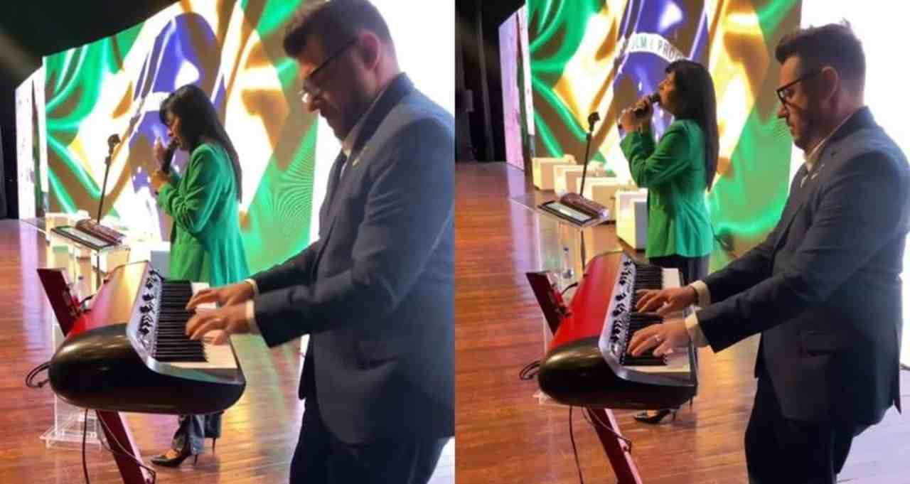 Fernanda Brum canta em evento político bolsonarista